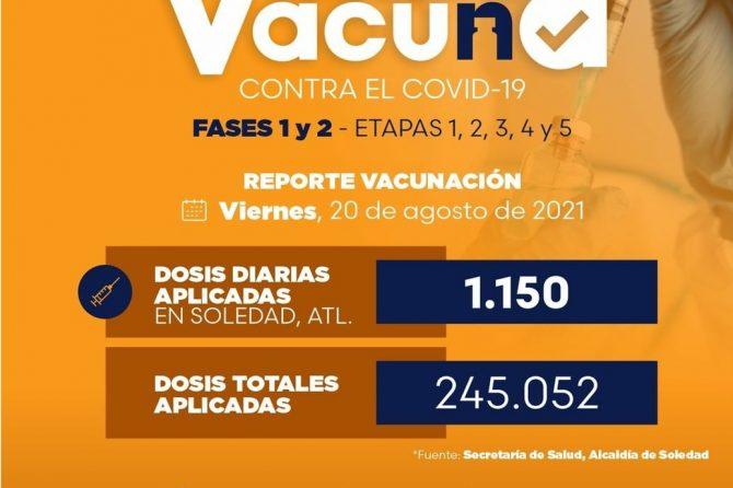 Vacunación primeras dosis contra el Covid-19 mañana en Soledad